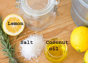lemon, coconut oil, salt scrub
